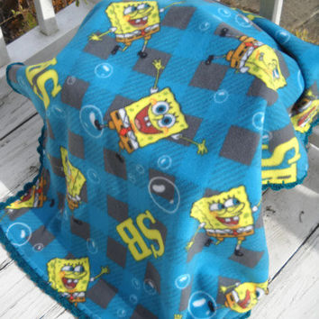 Sponge Bob Fleece Blanket-Blue and Gray Blanket- Happy Sponge Bob Blanket with Crochet Trim-Fleece and Crochet Blanket-Toddler Boy Blanket