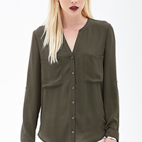 FOREVER 21 Button-Front Woven Blouse Olive