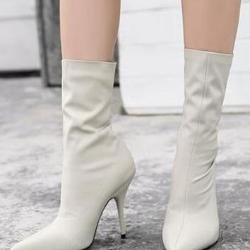 White Stretch Heeled Ankle Boots