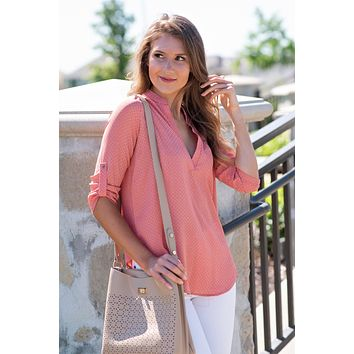 Running To You Open V Neck Top : Coral Print