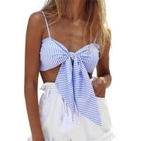 Striped Tie Crop Top Cropped For Women Summer Tops 2018 Sexy Bralette Short Camisole Spaghetti Strap Tank Top Party Beach Camis