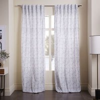 Cotton Canvas Vine Leaves Curtain - Ash Blue