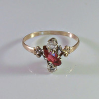 Victorian 9K Ring, Ruby Diamond Paste, 9ct Gold, Size 8.5