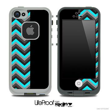 Turquoise and Black Double Tone Chevron Pattern Skin for the iPhone 5 or 4/4s LifeProof Case