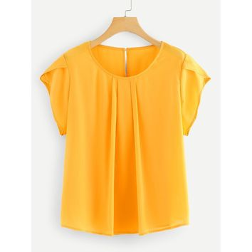 Plus Petal Sleeve Blouse