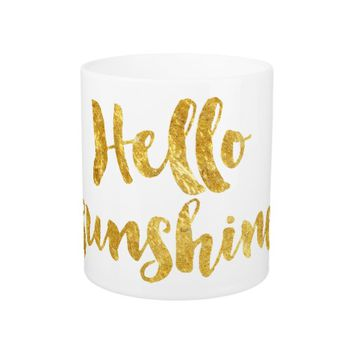 hello sunshine golden calligraphy coffee mug
