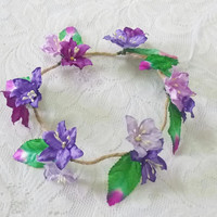 Purple flower crown Lily leaves headpiece Violet tones Green head band / Flower crown/ Rustic Rose headpiece