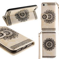 i6 Retro fashion Leather Cases Embossed Floral Wallet Leather Stand Flip Cover for iPhone 5 5S SE 6 6s 6 6s plus with Card Slots