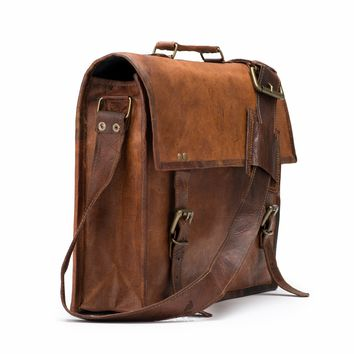 1ee2ea599e26 Handmade Moroccan goat Leather Messenger computer Laptop Bag