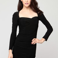 Ruched Long Sleeve Bodycon Dress
