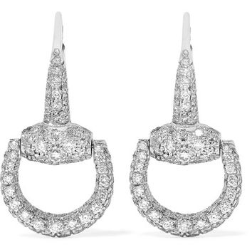 Gucci - 18-karat white gold diamond earrings