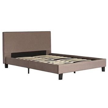 Queen size Brown Upholstered Platform Bed Frame with Headboard