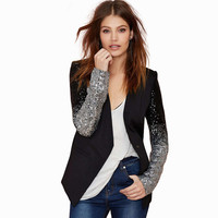 Black Sequined Gradient Long Sleeves Blazer Jacket