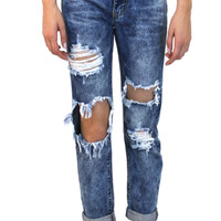 Rockstar Boyfriend Jeans in Distress Wash