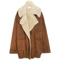 Wunderkind Oversized Tan Shearling Coat