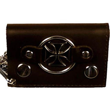 Chopper Cross Genuine Leather Trifold Biker's Wallet ID Card Holder w/ Chain 1046-9 (C)