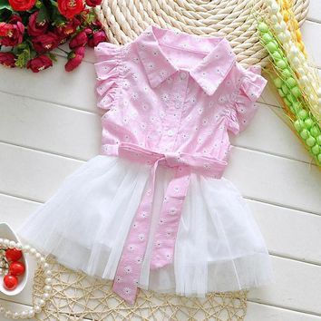 Summer Baby Dress Cotton+Lace Newborn Princess Dress Casual Flower Baby Girls Clothes Infant Baby Kids Tutu Dress