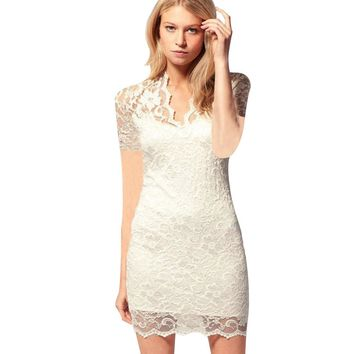 Sexy V-neck Short Sleeve Lace Patchwork Hollow Out Wrapped Hip Sheath Lacework Mini Dress for Women