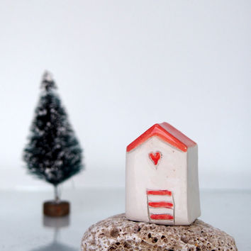 Summer Beach house - Handmade ceramic miniature, White house in white and orange, Little clay house, Miniature sculpture art
