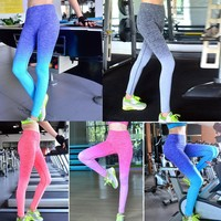 Women Exercise Leggings Running Yoga Sports Gym Pants Trousers Gym Clothes Cotton Blend Running Tights Fitness