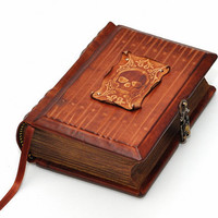 Dark secrets, handmade leather journal - antique style, 4x6 inch (10x15 cm) in gift box with 640 pages (counting side by side).