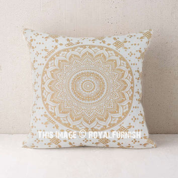 Gold Decorative Ombre Mandala Throw Pillow Covers on RoyalFurnish.com