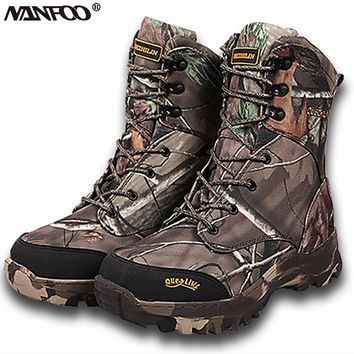 New Outdoor Waterproof Hunting Boots Camo Winter Snow Boots Plush Tactical Walking Fishing Real Tree Camo Shoes 40-46 Size
