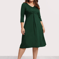 Plus V Neckline Twist Dress