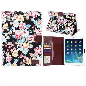 Floral Print Leather Smart Tablet Cover creative case