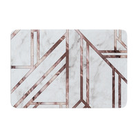 "KESS Original ""Dark Marble Mosaic"" Digital Geometric Memory Foam Bath Mat"