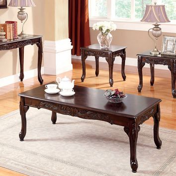 3 pc Cheshire collection dark cherry finish wood coffee and end table set