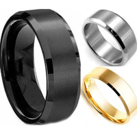 Cool Simple Men Ring Black Gold Silver 3 Colors Stainless Steel Male Finger Ring Party Wedding Fashion Jewelry RING-0079