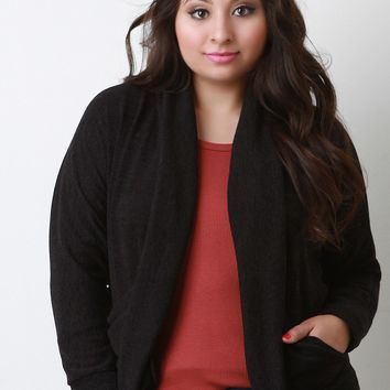 Shawl Collar Open Front Cocoon Cardigan
