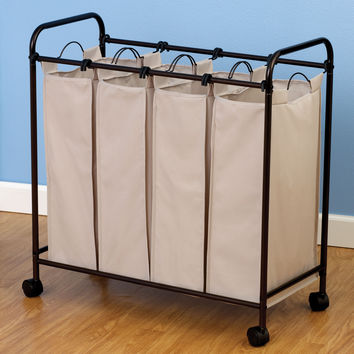 Rolling Quad Laundry Sorter, Antique bronze
