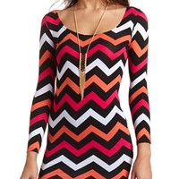 LONG SLEEVE BODY-CON CHEVRON DRESS