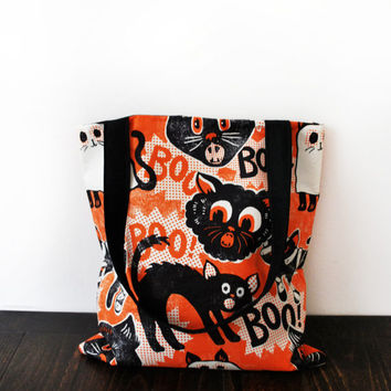Vintage 60's Halloween Fabric Tote Bag