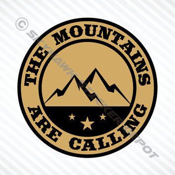 Mountains Are Calling Bumper Sticker Vinyl Decal Khaki MacBook Pro Air Sticker Hiking Outdoor Sticker Car Truck Decal 4x4 Off Road Decal