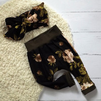 Black and ivory floral baby harem pants and headband set, one size flroal headwrap, toddler harems