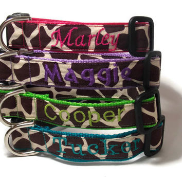Personalized Giraffe Dog Collar in Pink, Purple, Teal and Green