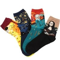 Field4U® 4 Pairs Casual Cotton Fashion Crew Socks