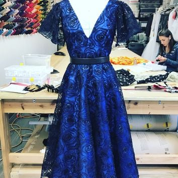 Risley Dress | Sequined Floral Embroidery