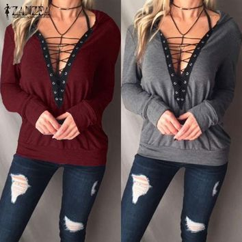 2017 Autumn Casual Tops Zanzea Women Shirts Sexy Lace Up Hooded Blouses Long Sleeve V Neck Bandage B