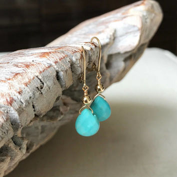 Turquoise Earrings, Turquoise Tear Drop Earrings, Turquoise Tear Drop Earrings in Gold or Silver, Turquoise Drops, Turquoise