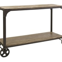 Trendy Utilitarian Metal and Wood Console on Metal Wheels