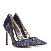gianvito rossi - lace and suede pumps