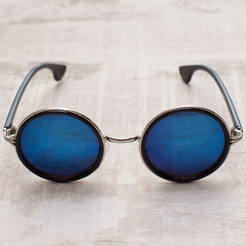 Margot Round Sunglasses - Silver/Blue