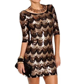 Black/Gold Scalloped Sequin Dress