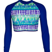 Delia's Long-Sleeve Rash Guard - Blue Multi