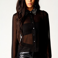 Kylie Studs Collar Blouse With Dip Hem