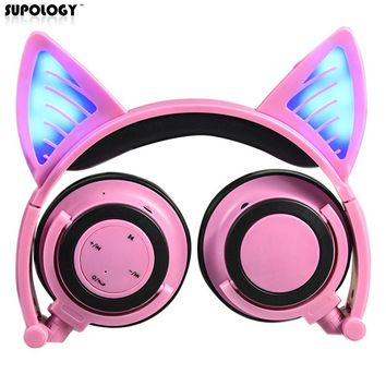 SUPOLOGY Cute Glow Bluetooth Cat Ear Headphones for Girls Led Wireless Bluetooth Headphone Children Luminous Gaming Headphone